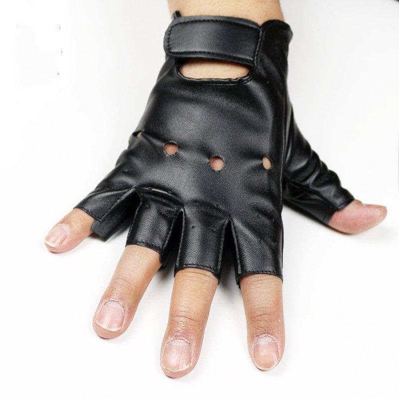 Half-Finger Gloves Men's Dancing Hip-Hop Rivet Men's Finger Rehearsal Spring & Summer Stage Performance Leather Gloves Black pro biker mcs 04 motorcycle racing half finger protective gloves black size xl pair