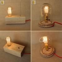 NOWY LOFT Nowoczesna Lampa Stołowa Rocznika Drewna Litego Drewna Przeczytać Nowoczesne biurko Lampki Nocne Lampy Amerykański Badania Światła ciepły biały wahacza