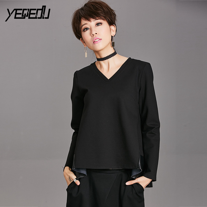 Tops & Tees #1420 Spring Patchwork Pu Leather Pleated Long Sleeve T Shirt V-neck Hip Hop T Shirt Women Black Fashion Loose Streetwear Tops Modern And Elegant In Fashion