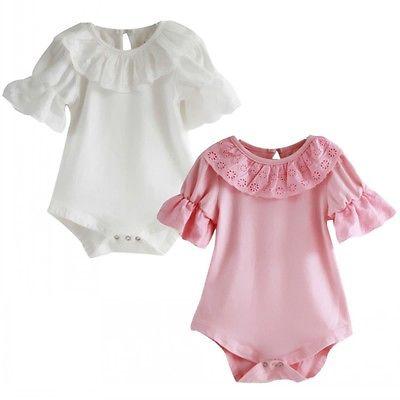 Newborn Kids Baby Girls Short Sleeve Lace Romper Jumpsuit Clothes 0-18M