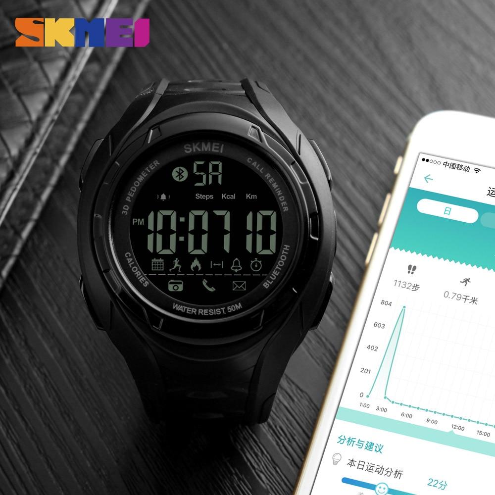 SKMEI Bluetooth Smart Watch Skridttæller Kalorier Udendørs - Mænds ure - Foto 4