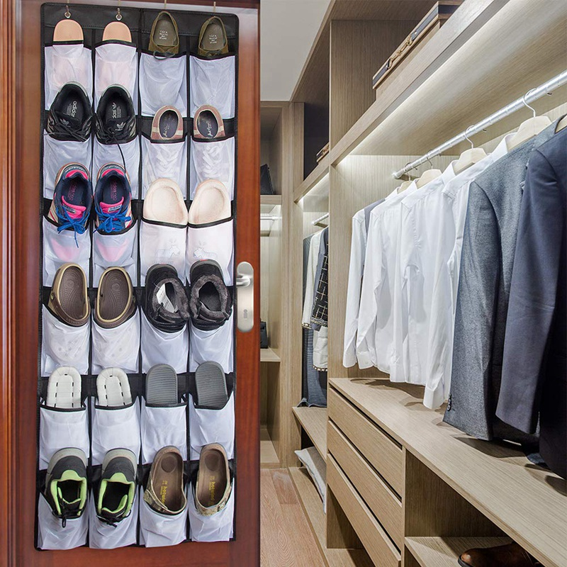 Clear Hanging Shoe Organizer Over The Door 24 Large Pockets to Keep Shoes and Bottles 9