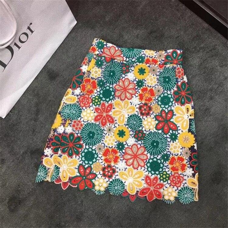 Тяжелые ткань цвет гипюра кружево, гнилой цветок, сетчатая подкладка, высокой талией мешок хип качели юбка 0723