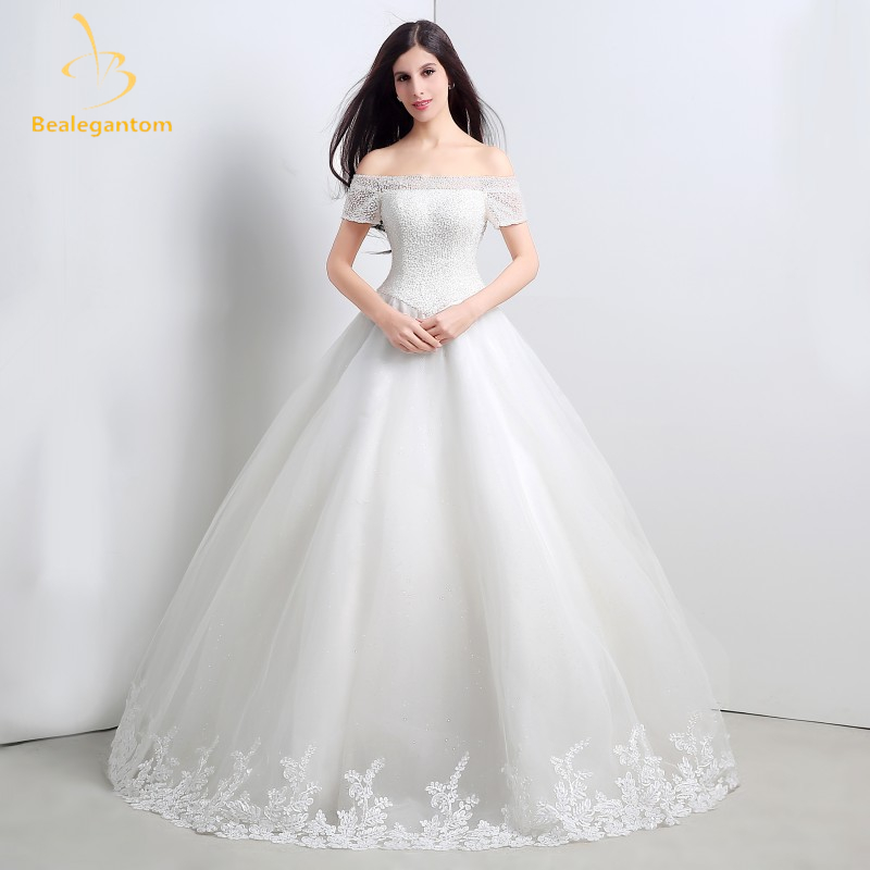 Bealegantom Ivory Off Shoulder Sweetheart font b Wedding b font Dresses 2017 Beaded Lace Up font