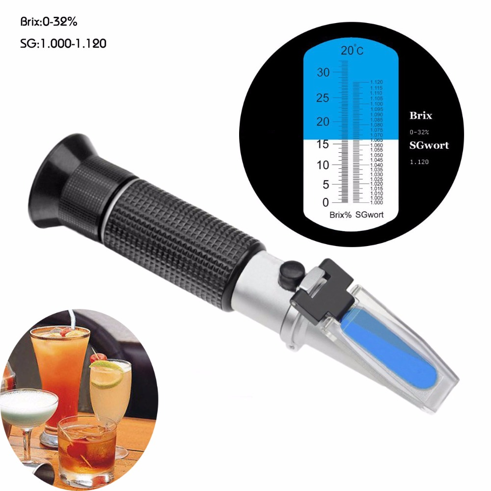 Refractometer Beer Wort Wine Brix Refractometer ATC SG 1.000-1.120 & Brix 0-32%, Refractometer Sugar Wine Beer Fruit 2018 new hand held brix refractometer for sugar beer brix test optical 0 32% brix atc fruit sugar meter saccharimeter