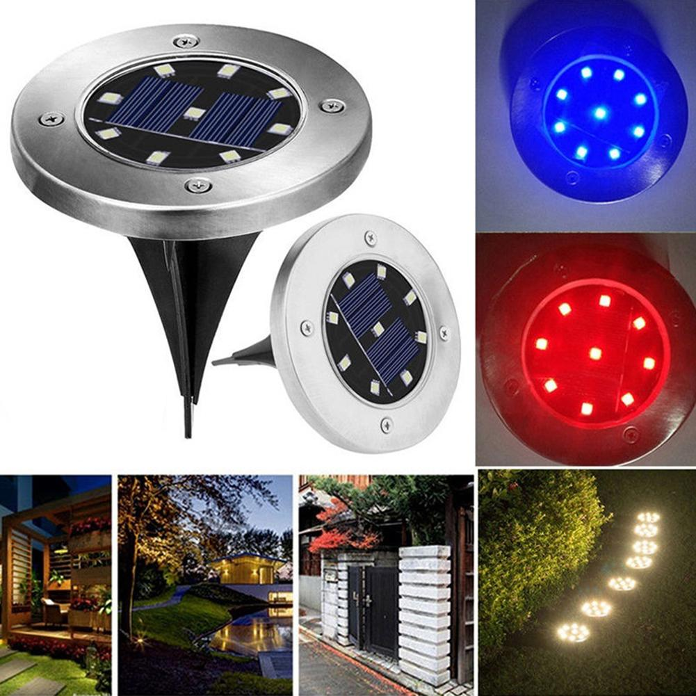 9LED Solar Power Buried Light Pathway Ground Lawn Yard Outdoor Night Garden Lamp