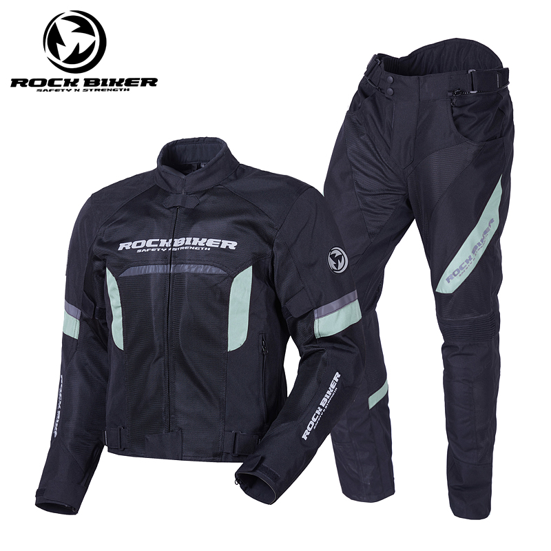 ROCKBIKER Motorcycle Jackets And Pants Windproof  Breathable Motocross Jersey Men's Motorbike Knee Protection Summer Racing Suit-in Combinations from Automobiles & Motorcycles    3