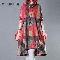 Autumn And Winter Dress Plus Size Clothing Loose Women Dress Turtleneck Irregular Full Dress Plaid Long