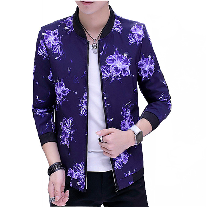 2018 new Mens Spring Summer Hood Jackets Fashion flowers Print Waterproof Windbreaker Ca ...