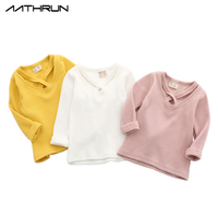 2017 Autumn Baby Girls Bottoming Shirt Cotton Long Sleeved T shirt V collar Female Knitwear Baby Princess Girls Tops Tee