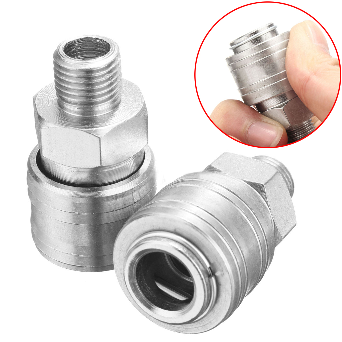 2pcs New Air Line Hose Compressor Connector 1/4 BSP Male Thread Quick Release Coupling Set air compressor o ring 1 2pt thread oil level sight glass