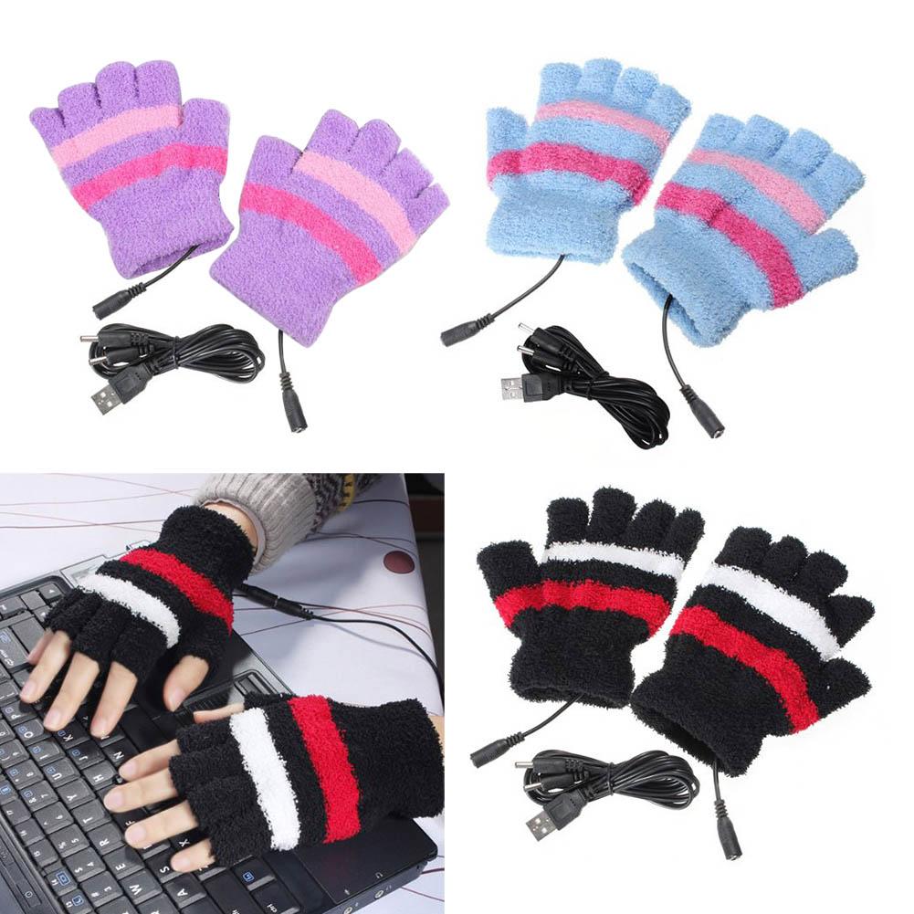 Female Men's Gloves 2017 Unisex Winter Electric USB Heatting Color Hand Warming Fingerless Gloves +USB Cable For Men Women