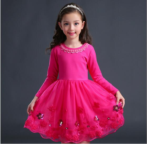 4-13Y Girl Cotton Tulle Dress 2017 Autumn Children Party Dresses Fashion Girl Fall Dress Embroidery Childrens Clothes 2