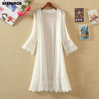 Hollow Out White Lace Blouse Kimono Summer 2018 Casual Loose Woman Shirt Fashion Long Sleeve Lace
