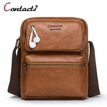 CONTACT'S Genuine Leather Bag Men Bag Male Handbag Men Messenger Bag Shoulder Crossbody Bag For Men Briefcase Business Small New