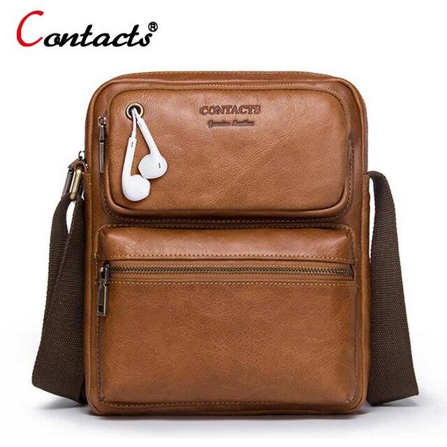 d7e5f53b1 CONTACT'S pequena bolsa masculina couro legitimo vaca de marca famosa bolsa  de ombro sacos malas maleta