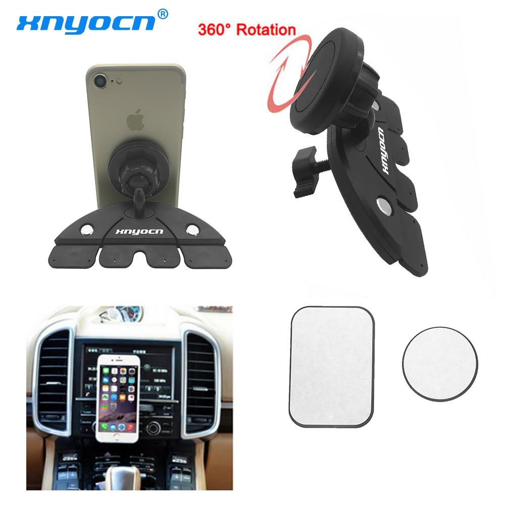 Universal Adjustable CD Player Slot Smartphone Mobile Phone Car Mount Holder 360 Rotating Magnet Stand Bracket for Mobile GPS