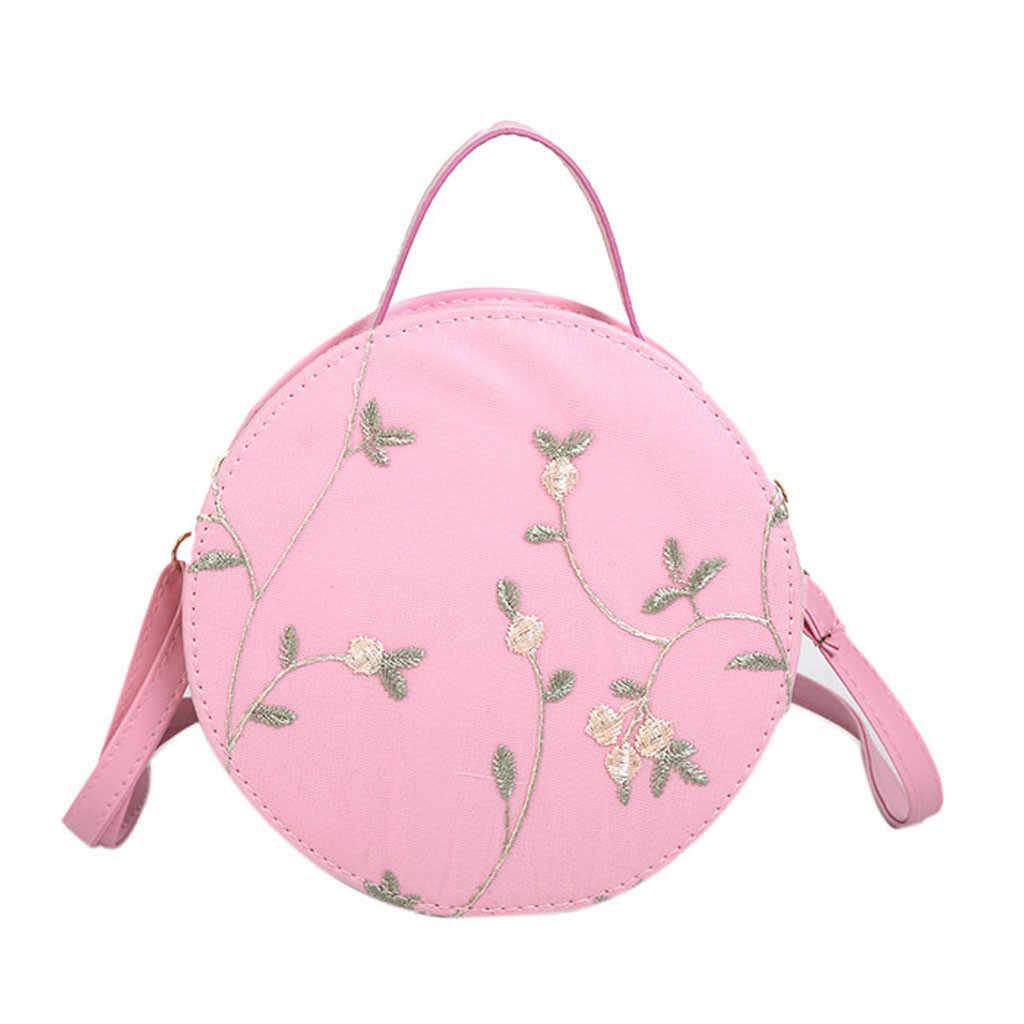 Marca xiniu Rodada Bolsa de Ombro das Mulheres Moda Rendas Fresco Bolsa Crossbody Bag Pacote Bolsa Feminina de Cor Sólida Impressão Floral nova