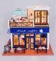 Irish café Nordic casa de boneca DIY 3D mini luz kits modelo de construção de brinquedos casa e loja de decoração de madeira Handmade BJD