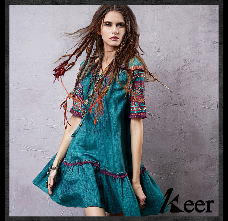 ac7a654a8d65e US $30.09 2019 Vintage 70s ethnic short sleeve v neck embroidery ...