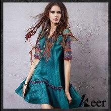 Винтаж 70s в этническом стиле с коротким рукавом, v-образным вырезом и вышивкой платье для женская летняя обувь Мексика boho Винтаж хиппи фестивальное платье бальное платье