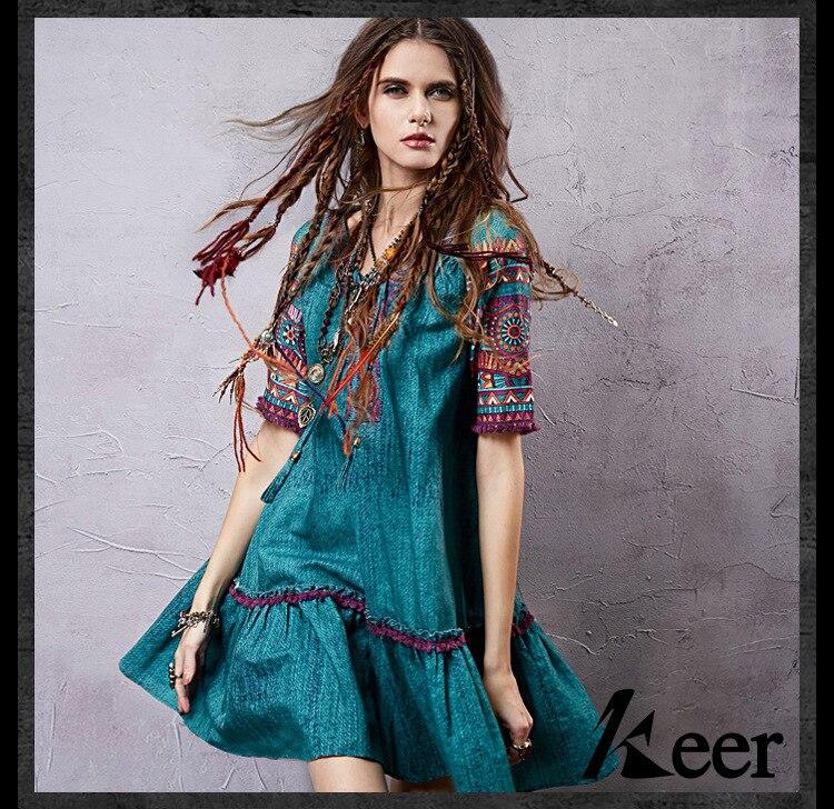 2019 Vintage 70 s ethnique à manches courtes col en v broderie robe pour les femmes été mexique boho vintage hippie festival robe
