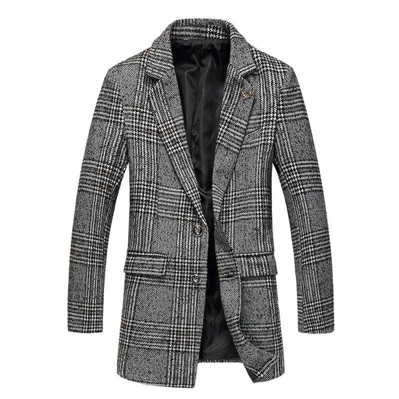 2017 inverno novo estilo de lazer dos homens moda de alta qualidade jaquetas Homens do revestimento de trincheira single-breasted estilo de grade longo blusão