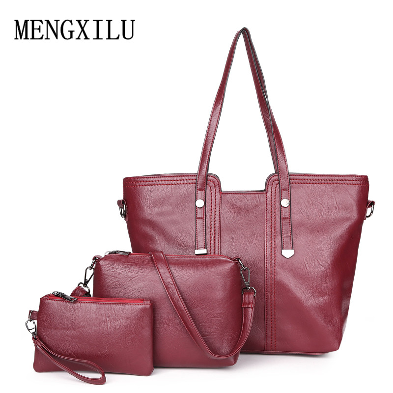 Luxury 3Pcs / Set naiste käekott crossbody kotid pu nahast naiste - Käekotid - Foto 5