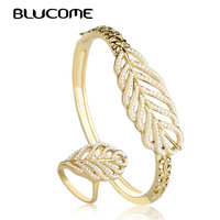 Blucome Classic Leave Shape Artificial Pearls Bangle Ring Sets Party Jewelry Set Women Lady Party Dress Decoration Large Rings