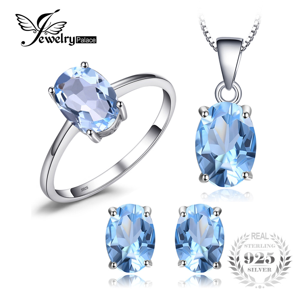 JewelryPalace 5.8ct Natrual Topázio Azul Oval Anel Stud Colar Pingente Brincos 925 Sterling Silver Jewelry Sets 45 cm Caixa Cadeia