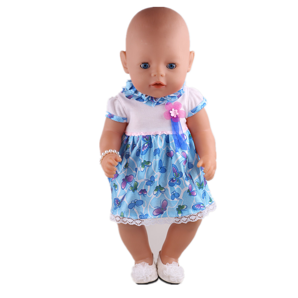 1pcs Blue Dress clothes Clohes Wear fit 43cm Baby Born zapf, Children best Birthday Gift 2color choose leisure dress doll clothes wear fit 43cm baby born zapf children best birthday gift only sell clothes