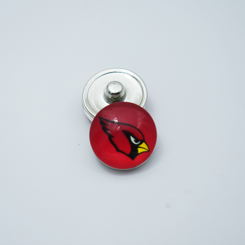 20pcs Newest Style Arizona Cardinals Football Team Metal 18MM Button Snaps Jewelry Fit For DIY Snap Bracelet Necklace Jewelry