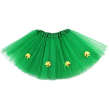 0-8Y Baby Girl Clothes Solid Green Four Leaf Clover Tulle Tutu Skirt Holiday Party Kids Clothing Costume 4 layer Yarn Pettiskirt valentine black ruffle rainbow hearts girl pettitop black petal pettiskirt nb 8y mapsa0121