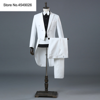 England Gentleman Two piece Black White Groom Cheap Wedding Tuxedos Suits For Men Classic Tail Coat With Pants Slim Fit