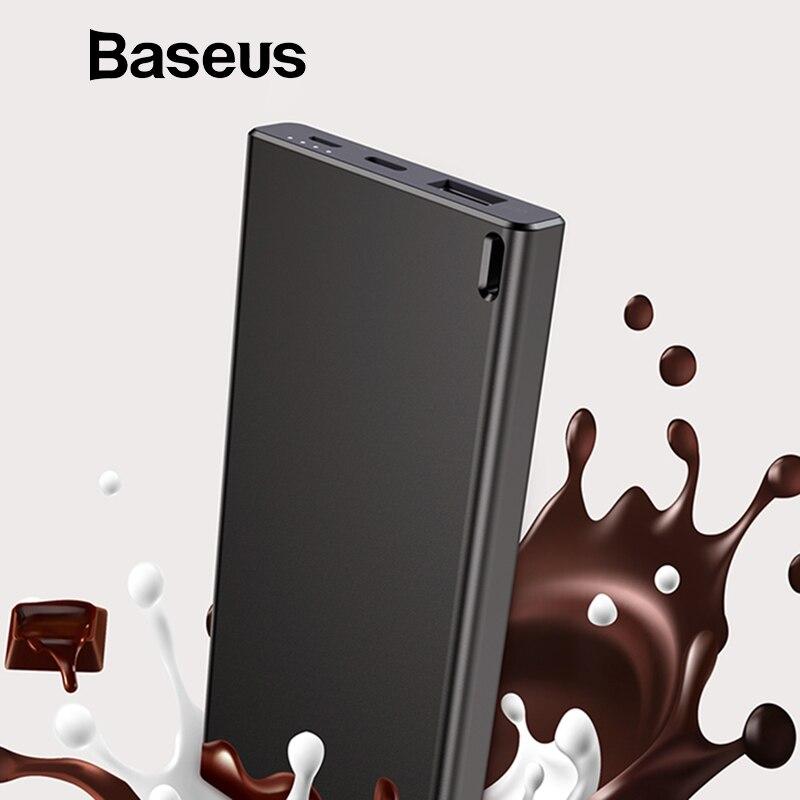 Baseus 10000 mAh banco de potencia para iPhone Xs Max Samsung Xiaomi Huawei cargador Mini USB portátil cargador de paquete de batería externa