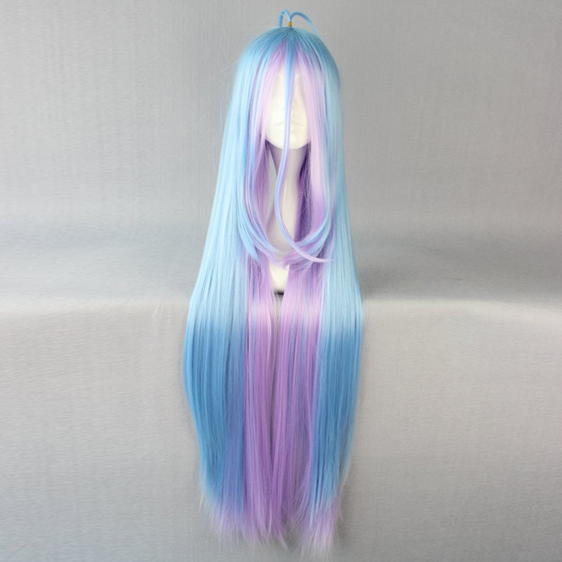 Anime No Game No Life Shiro 110cm Long Multi-color Ponytail Heat Resistant Cosplay Costume Wig +Wig Cap