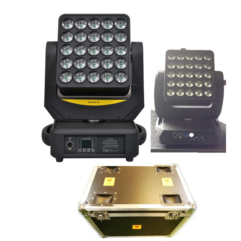 10pcs/lot  flight case packing Magic 25*12w Quad Cree led matrix  moving head light  with individual led control wash effect 4piece lot 3x3 led matrix moving head light matrix rgbw 4in1 9x10w led cree led stage lights