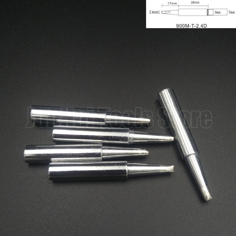 5pcs Lead-free Replaceable flat shape <font><b>900M</b></font>-<font><b>T</b></font>-<font><b>2.4D</b></font> Soldering Iron Tips welding tips For Soldering Station image
