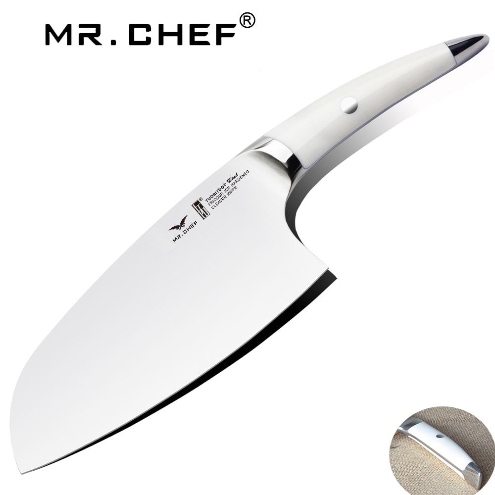 7.5 pouces Cleaver Cuisine couteau de chef Bien Équilibré De Coupe De Légumes Couteaux Allemand En Acier Au Carbone X50 Très Lame Tranchante
