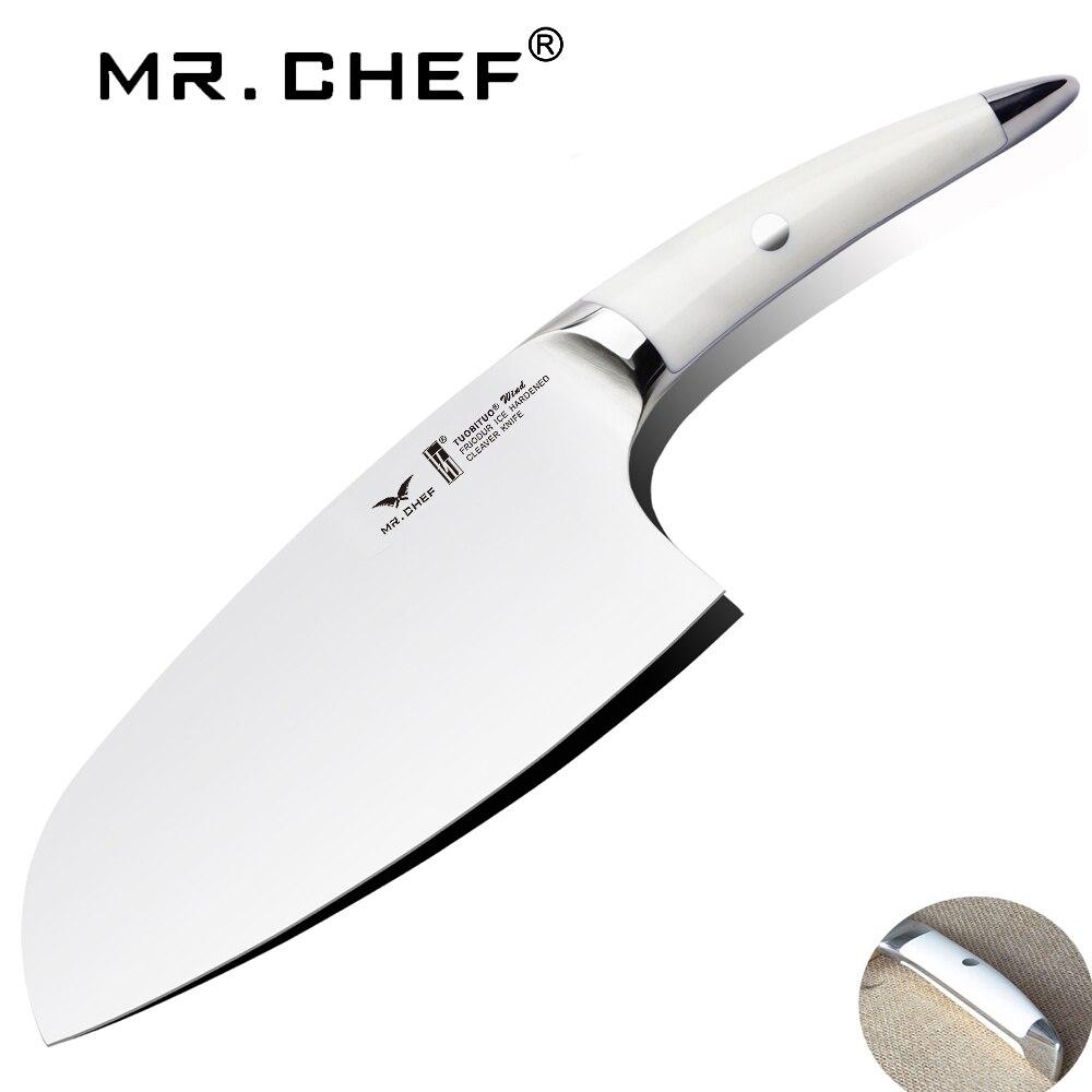 7.5 بوصة الساطور مطبخ الطهاة سكين متوازن الخضار قطع السكاكين الألمانية الكربون الصلب X50 حادة جدا شفرة-في سكاكين مطبخ من المنزل والحديقة على  مجموعة 1