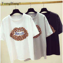 Leopard kiss Print Ladies 2019 Spring Summer Cotton T Shirts Femme Short sleeve Creative Tee Tops Women Round neck Loose Tshirts(China)