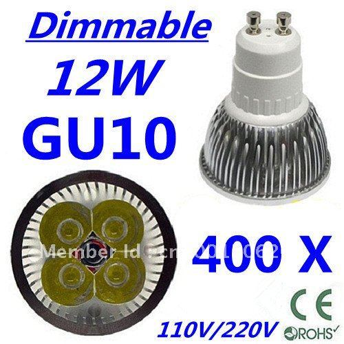 400pcs Dimmable LED High power GU10 4x3W 12W led Light led Lamp led Downlight led bulb spotlight FREE FEDEX and DHL