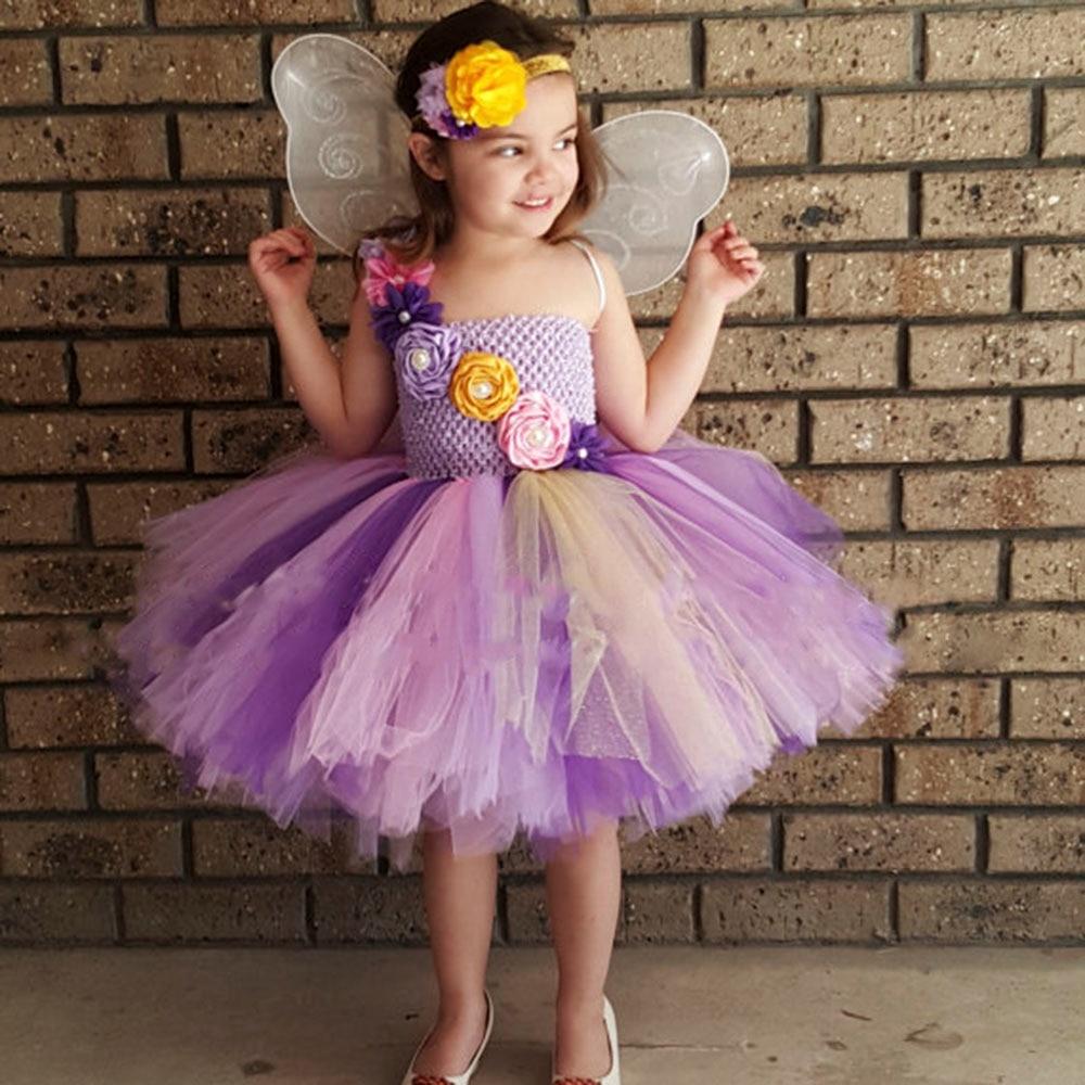 Fairy Pastel Lavender Pink Flower Girl Tutu Dress Tea Length Kids Princess Birthday Party Tulle Tutu Dresses Halloween Custom коньки maxcity caribo combo girl 26 29 pink