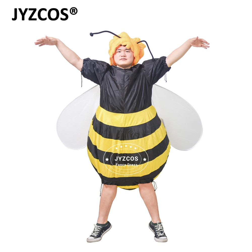 JYZCOS Oppustelige Bumble Bee Kostumer til kvinder Halloween Voksen Fancy Dress Outfit Cosplay Animal Purim Party Blowup Carnival