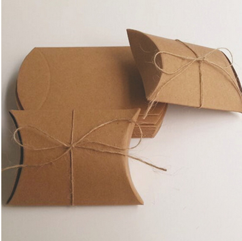 Stock Kraft Paper Pillow Box 9*65*24cm With hemp Tie Gift easy