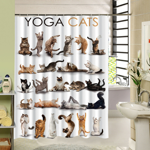 Hot Design Cat Cartoon Shower Curtain Bathroom Waterproof Polyester Fabric Animal Pattern Bath Accessory With 12