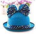 Мода мальчик девочка летом пляж соломенная шляпка милый кот ухо с бантом детей ковш вс Hat Cap рыбалка боб панама