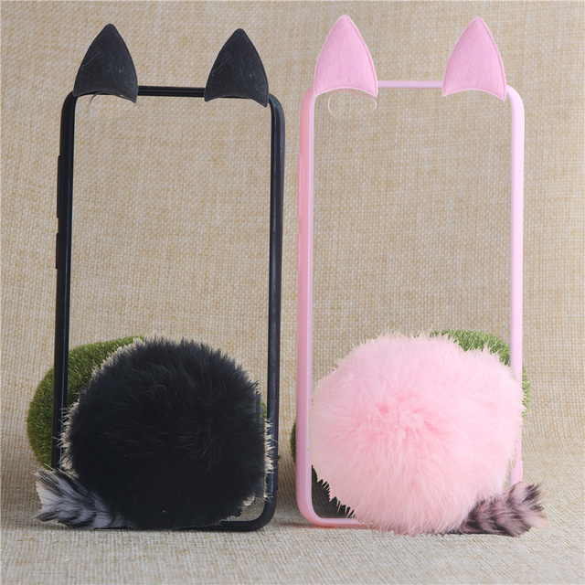 detailed look a1029 17955 US $4.6  TENENELE Phone Case 5.2''For Vivo Y55 Cute Fur Furry Ball Rabbit  Cover Soft Transparent Silicon Cases For BBK VIVO Y 55-in Fitted Cases from  ...