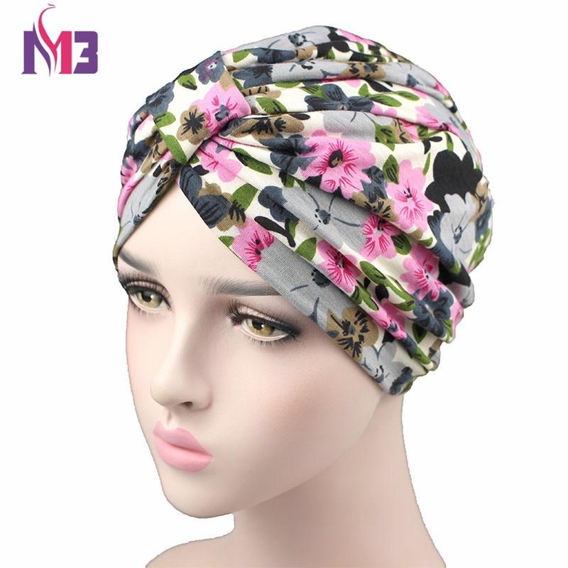 Spring Fashion Women Flower Printing Turban Modal Cotton Turban Hat Headband Turbante   Headwear   for Chemo Hijab Hair Accessories