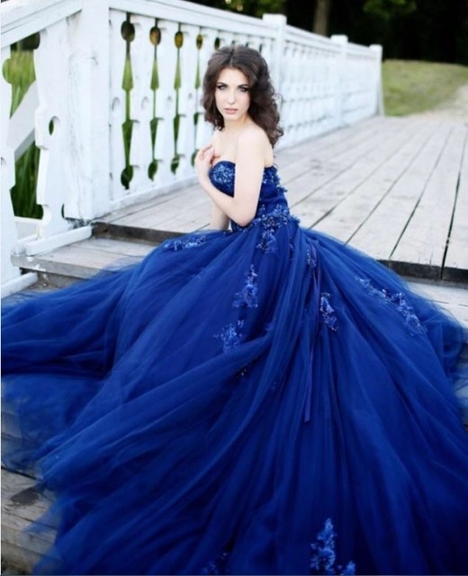 Sexy Long Lace Sequin Royal Blue Prom Dress Ball Gown Special Puffy ...